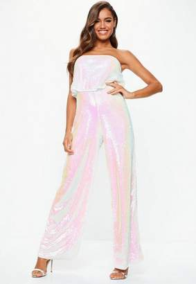 4ee791ceb009 ... Missguided White Iridescent Sequin Layered Romper