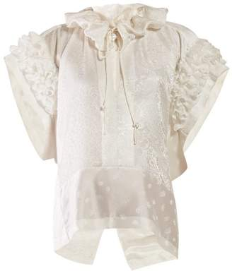 Chloé Ruffled Paisley Jacquard Silk Blouse - Womens - White