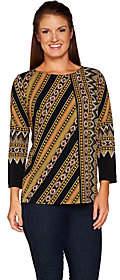 Bob Mackie Bob Mackie's Placement Print 3/4 Sleeve Top