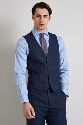 Regular Fit Bright Blue Check Waistcoat