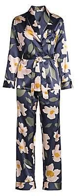 Ginia Women's Modern Floran Print Two-Piece Pajama Set
