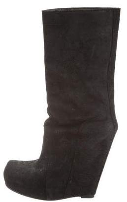 Rick Owens Round-Toe Wedge Boots