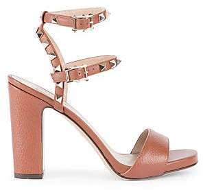 036213115376 Valentino Women s Rockstud Pebbled Leather Ankle-Strap Sandals