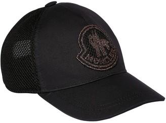 Moncler Logo Patch Cotton Gabardine & Mesh Hat