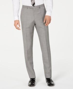 HUGO BOSS Men's Slim-Fit Light Gray Crosshatch Suit Pants
