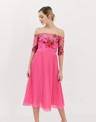 Chi Chi London lace embroidered top midi dress with pleated chiffon skirt in fuchsia
