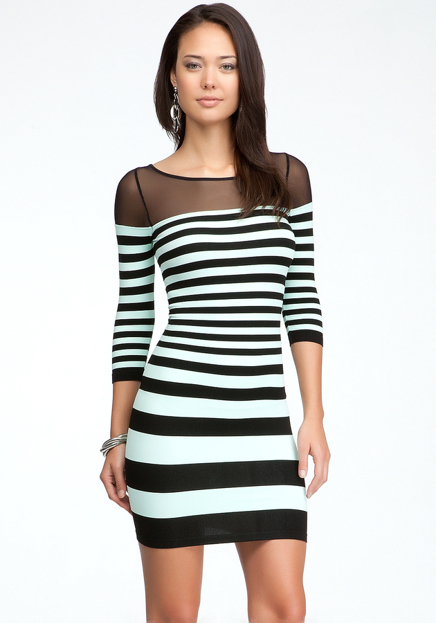 Bebe Mesh Shoulder Stripe Bodycon Dress