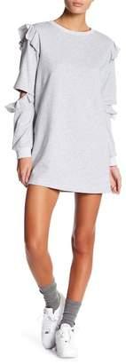 AFTER MARKET Ruffle Shoulder Sweater Dress