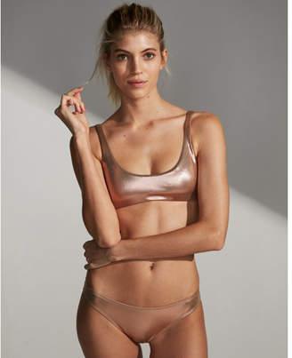 Express metallic foil scoop bikini top