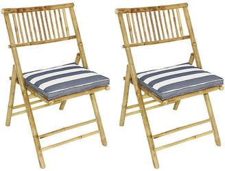 One Kings Lane Set of 2 Champion Side Chairs - Natural/Blue