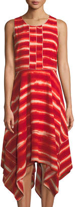 Donna Karan Tie-Dye Striped Trapeze Dress