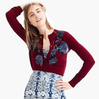 J.Crew Sequin floral embroidered cotton Jackie cardigan sweater