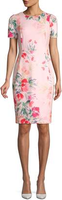 Calvin Klein Collection Short Sleeve Floral Sheath Dress