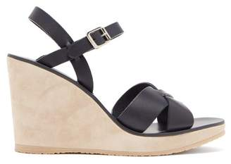 A.P.C. Juliette Leather Wedge Sandals - Womens - Navy