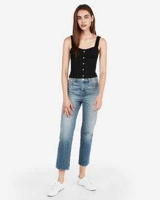 Express One Eleven Ribbed Button Front Tank