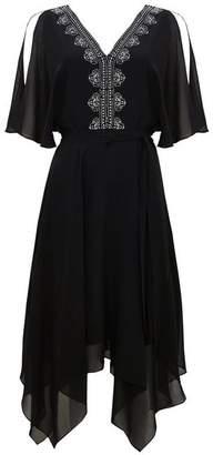 Wallis Black Embellished Fit and Flare Dress