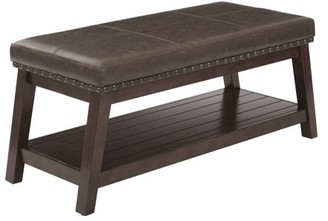 Office Star AVE SIX by Products Emery Entry Bench with Mocha Rustic Bonded Leather