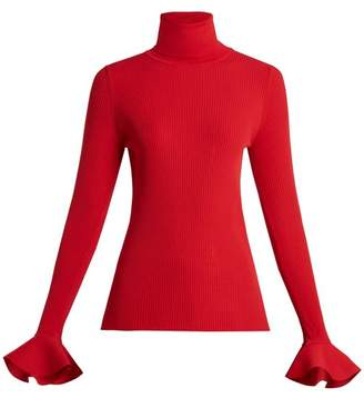 Valentino Ribbed Knit Roll Neck Sweater - Womens - Red