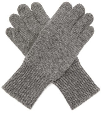 Brunello Cucinelli Suede Panelled Cashmere Gloves - Mens - Grey