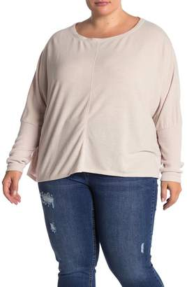 H By Bordeaux V-Neck Ribbed Sleeve Top (Plus Size)