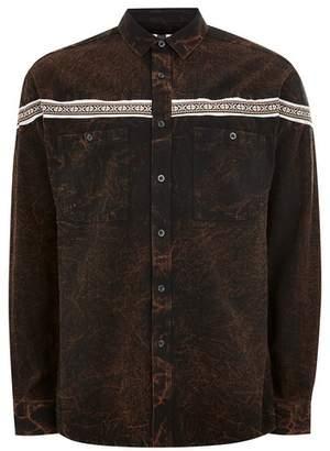 Topman Mens Brown Taping Long Sleeve Shirt