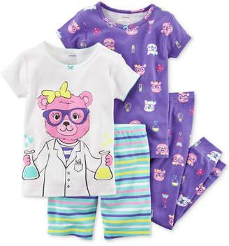 Carter's 4-Pc. Science-Print Cotton Pajama Set, Baby Girls