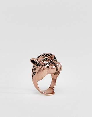 Asos DESIGN cheetah ring in burnished rose gold