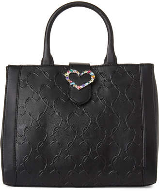 Betsey Johnson Black Heart Jewel Faux Leather Satchel