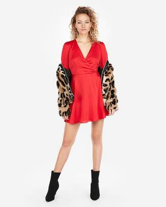 Express Long Sleeve Surplice Fit And Flare Dress