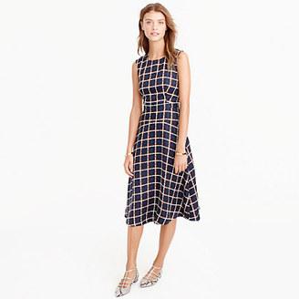 A-line dress in silk-twill windowpane print $168 thestylecure.com
