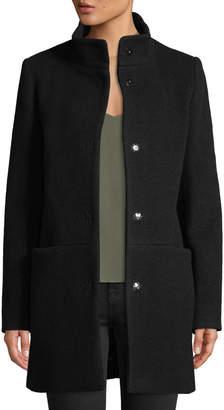 Cinzia Rocca Snap-Button Wool-Blend Walking Coat, Black