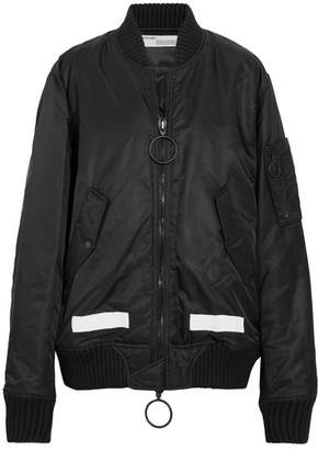 Off-White - Oversized Printed Shell Bomber Jacket - Black $1,635 thestylecure.com