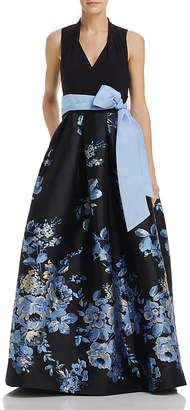 Eliza J Belted Floral Ball Gown
