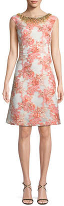 Aidan Mattox A-Line Brocade Dress w/ Jeweled Neckline