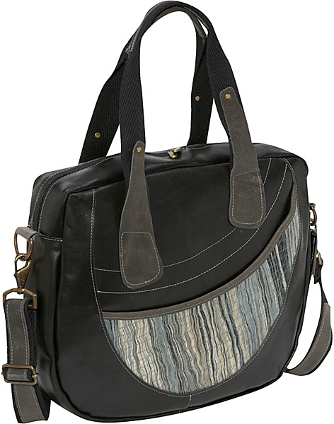 Global Elements Leather & Straw Travel Bag