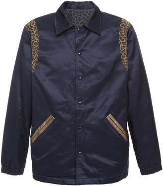 JUST DON Reversible Leopard-Print And Cotton-Blend Satin Jacket
