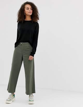 Miss Selfridge high waist crop jeans in khaki