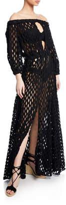 Milly Jenny Mesh Off-Shoulder Coverup Dress