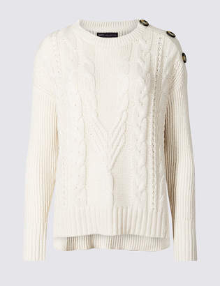 Marks and Spencer Cotton Blend Cable Round Neck Jumper
