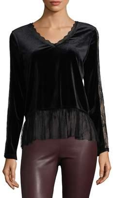 Allison Collection Women's Velvet Lace Blouse