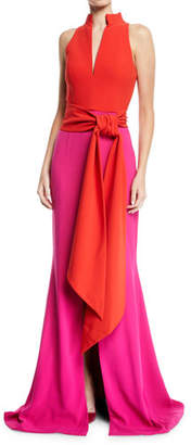 Brandon Maxwell Sleeveless Split-Neck Bicolor Draped Crepe Evening Gown