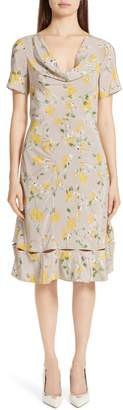 Altuzarra Cowl Neck Floral Print Silk Dress