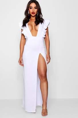 boohoo Ruffle Plunge Split Leg Maxi Dress