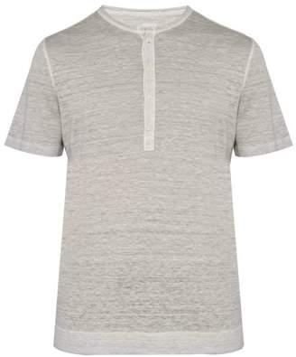 120% Lino Henley Linen Jersey T Shirt - Mens - Grey