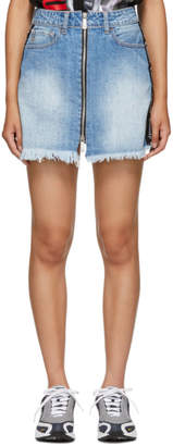 Marcelo Burlon County of Milan Blue Denim Miniskirt