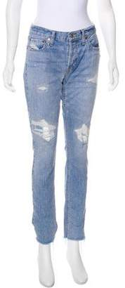 RE/DONE Distressed Mid-Rise Jeans