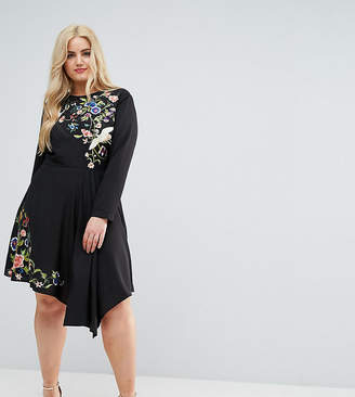 Asos Pretty Embroidered Skater mini dress