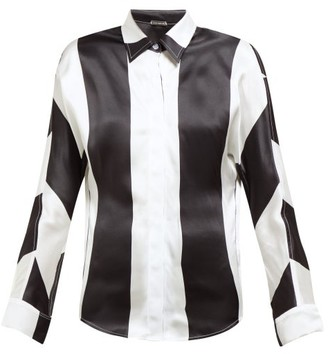 Dodo Bar Or Noy Stripe Print Silk Satin Shirt - Womens - Black White