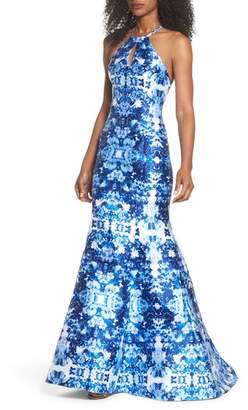 Xscape Evenings Mirror Pattern Halter Mermaid Gown