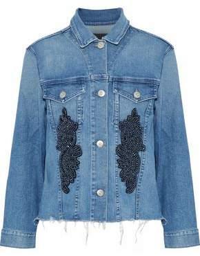 3x1 Burke Frayed Embellished Denim Jacket